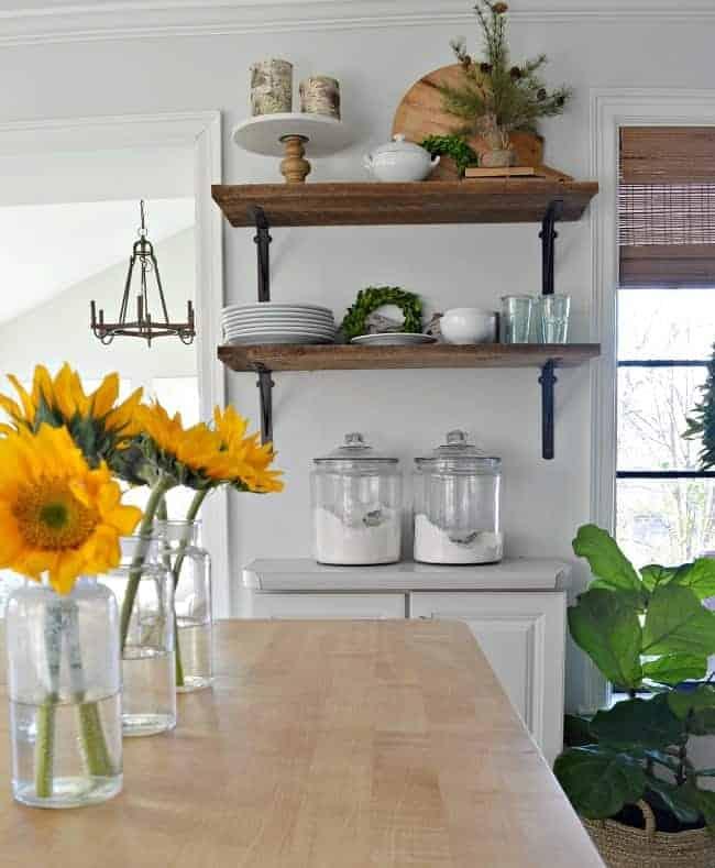 fiddle leaf fig in basket next to kitchen cabinet and wood shelves