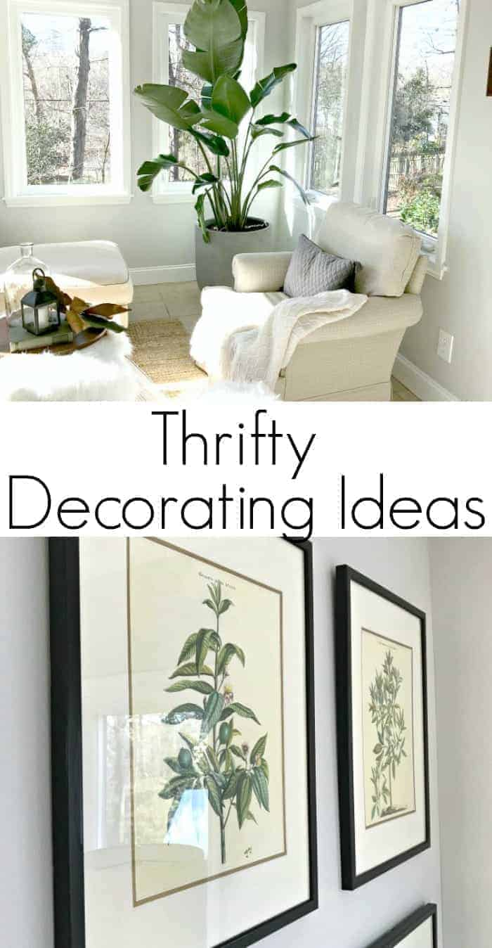 Thrifty ideas for decorating a sunroom using $10 thrifted art, an inexpensive plant and paint for a plain white door.