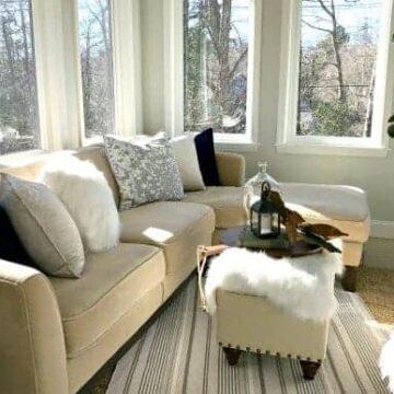 sectional sofa in sunroom