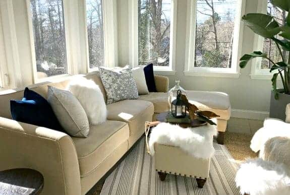 sectional sofa in sunroom