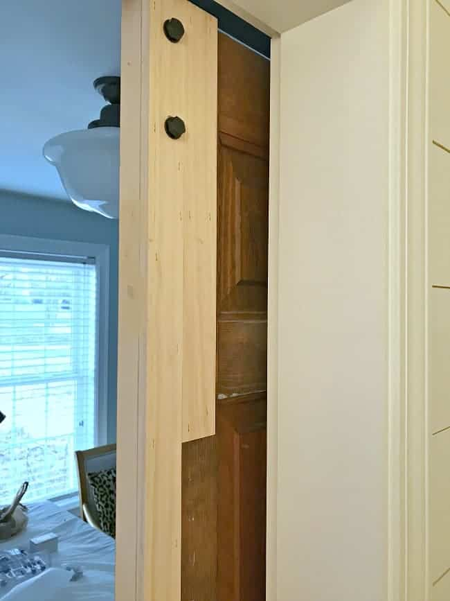 boards attached to wood closet door