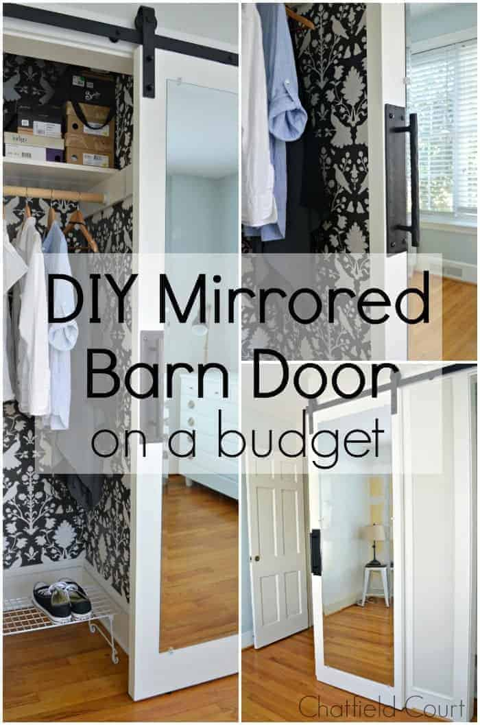 DIY mirrored barn door on a budget in different photos