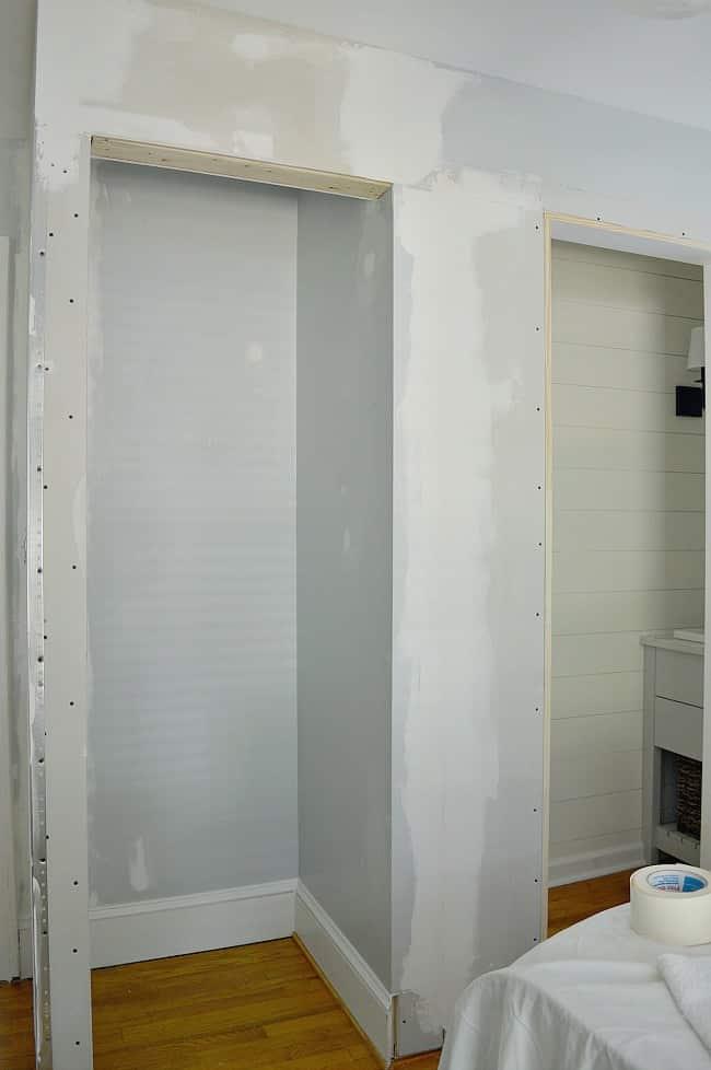 sheetrocked bedroom closet