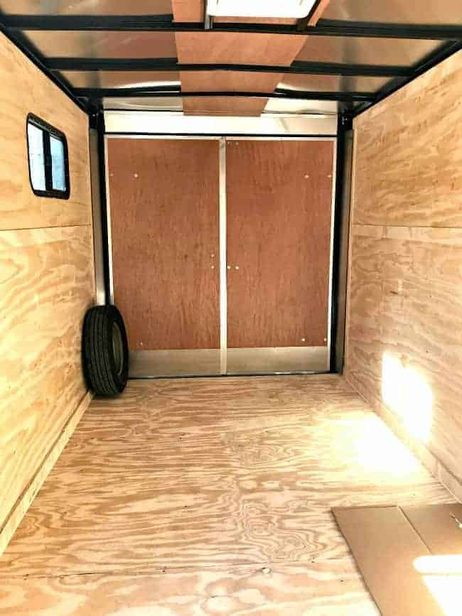 the back of the inside of the enclosed trailer camper