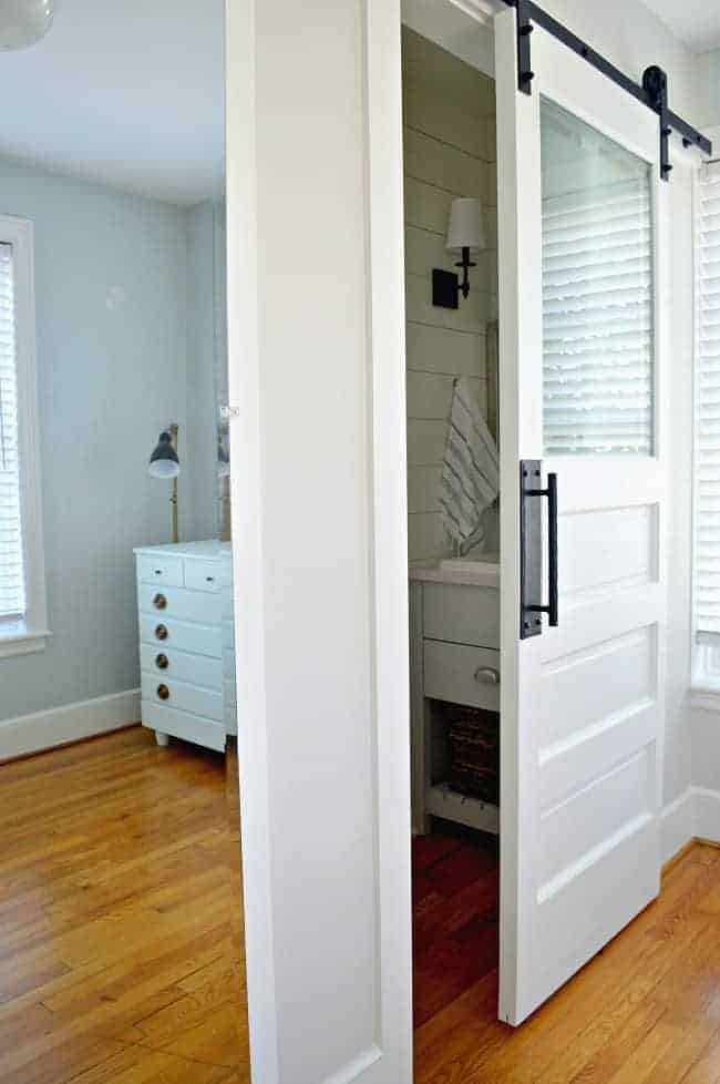 mirrored closet door and powder room door