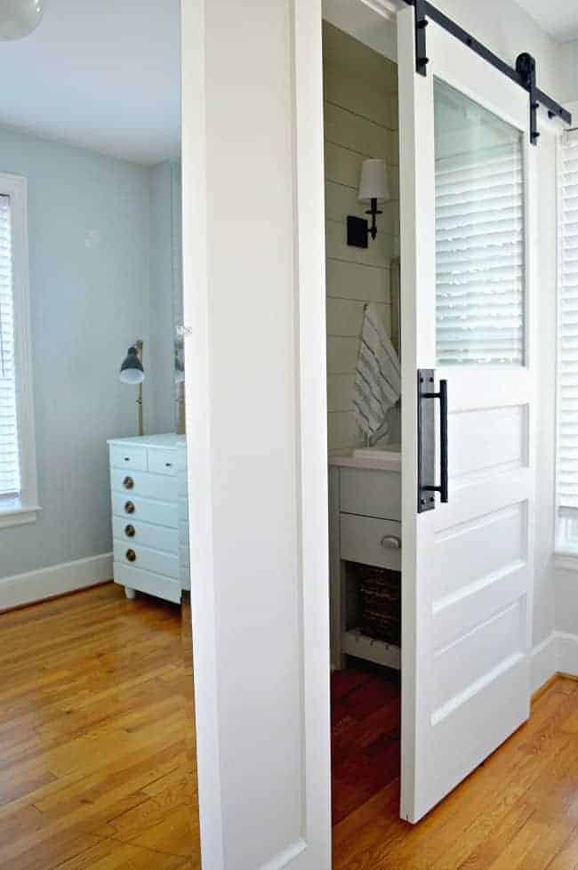 mirrored closet door and powder room door