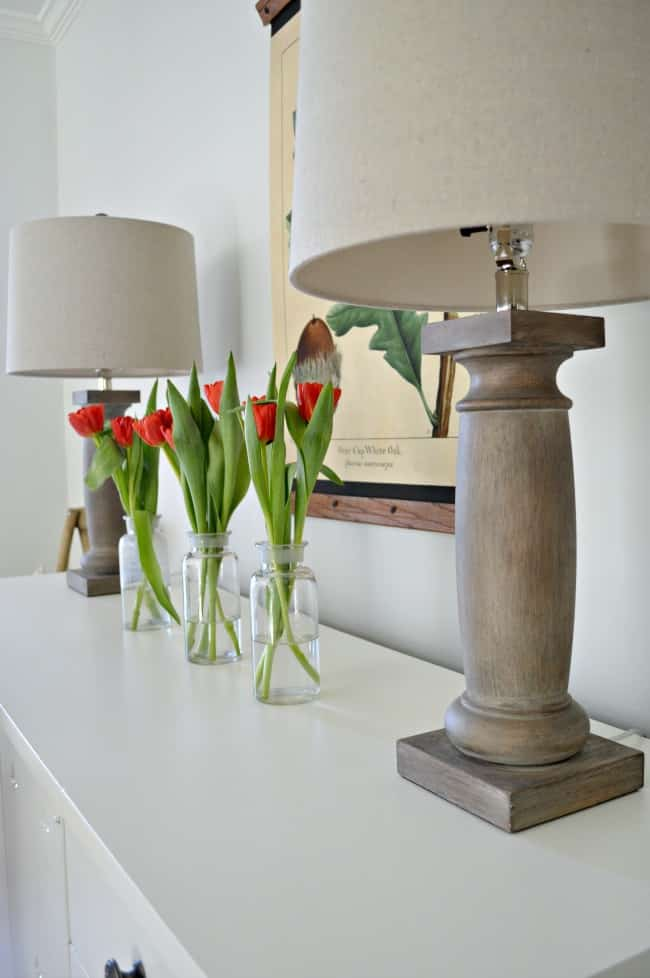 Vases of flowers on a table