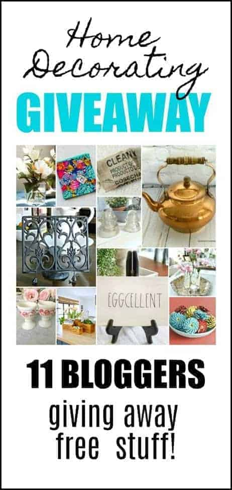 home decorating giveaway graphic with 11 pictures of home decor