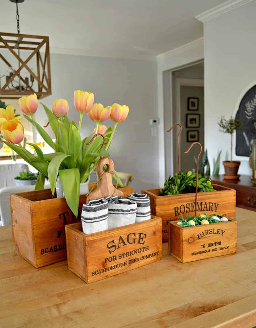 ... Home Decor Giveaway. 4 Wooden Herb Boxes Sitting On A Butcher Block  Island With Tulips, Napkins, Candy