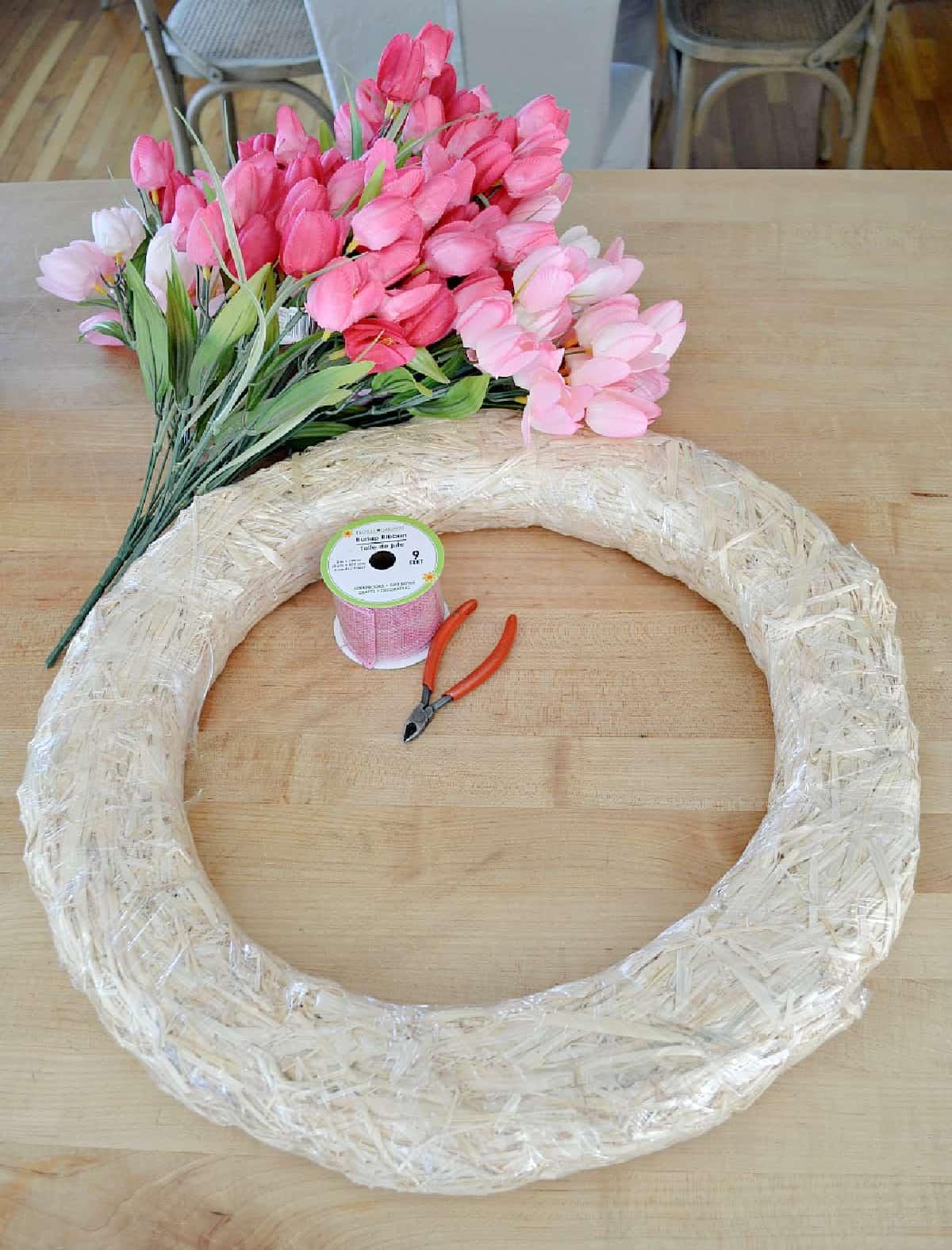 DIY tulip wreath supplies