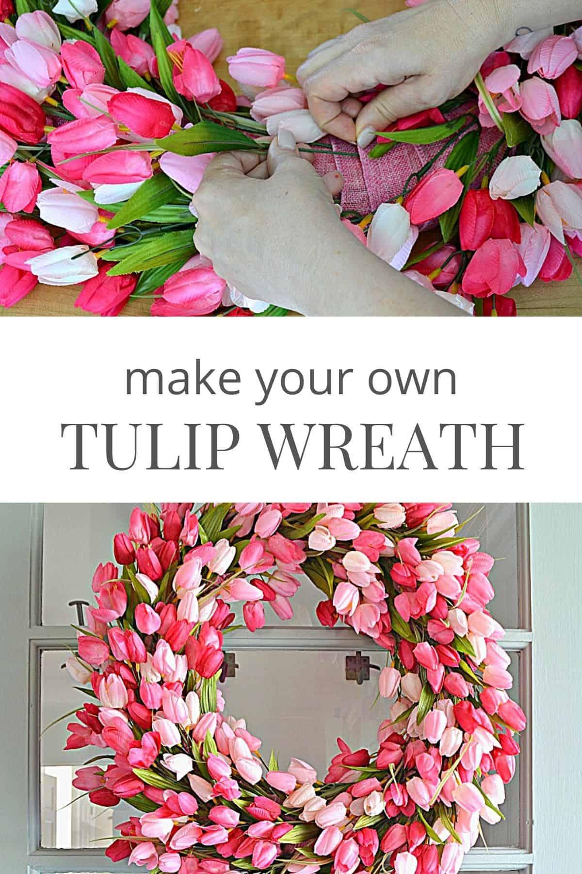 DIY pink tulip wreath hanging on front door