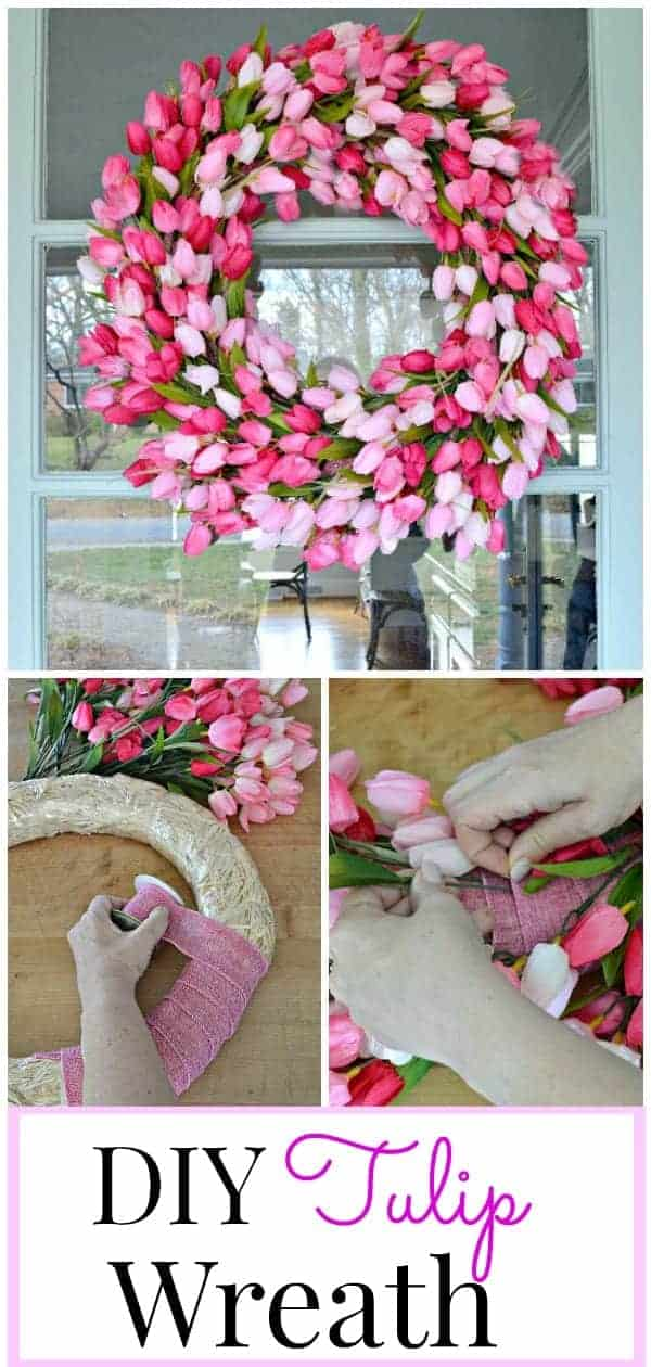 collage of DIY tulip wreath on front door, wrapping wreath form with ribbon and inserting stems in ribbon