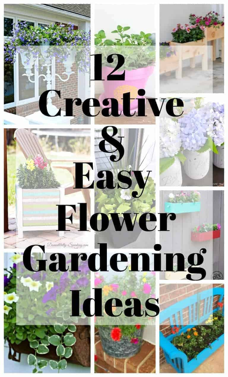 collage with flower gardening ideas and a large graphic on top