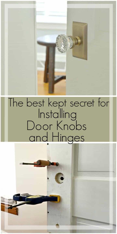collage with glass door knob on door and installing new door knobs