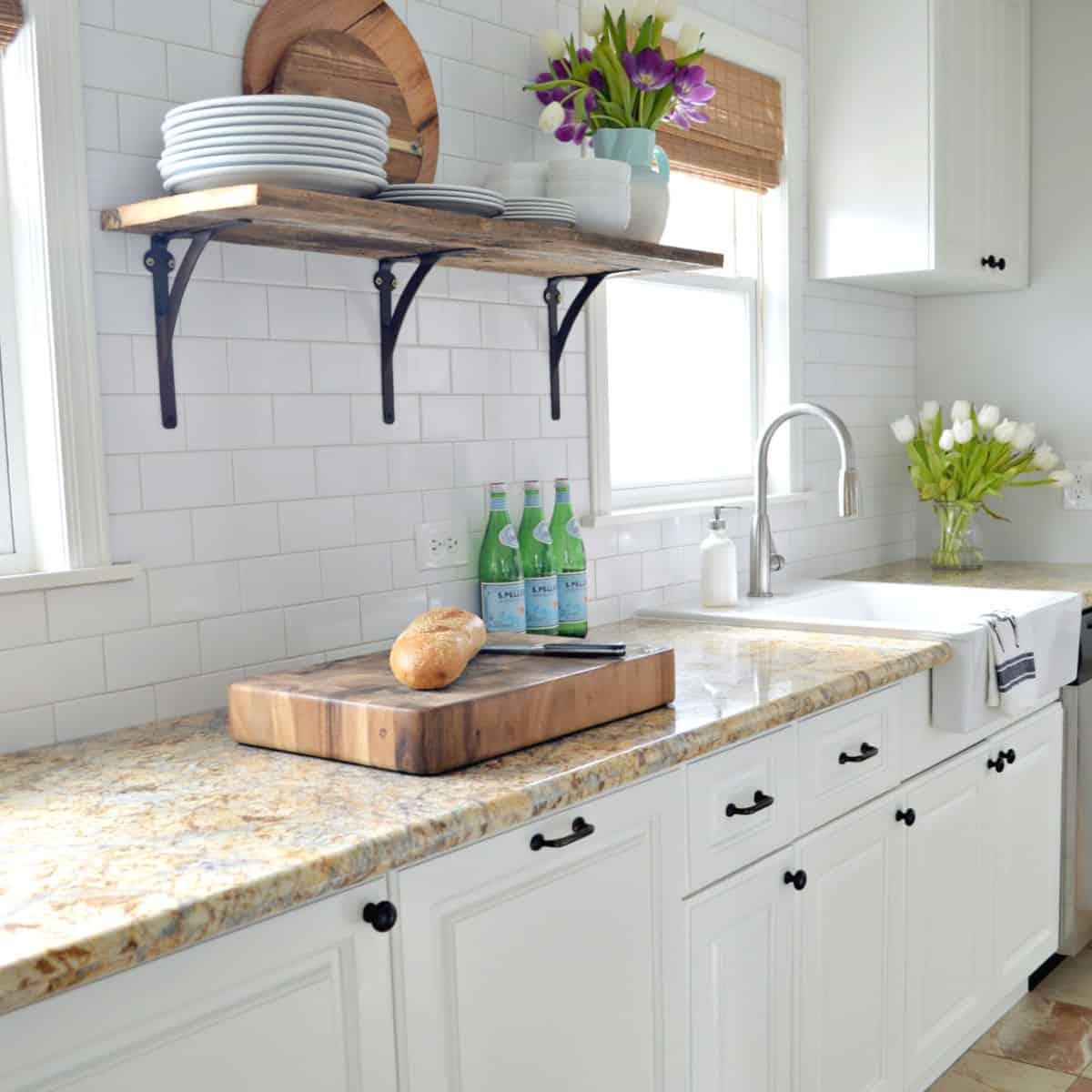white kitchen cabinets in small galley kitchen