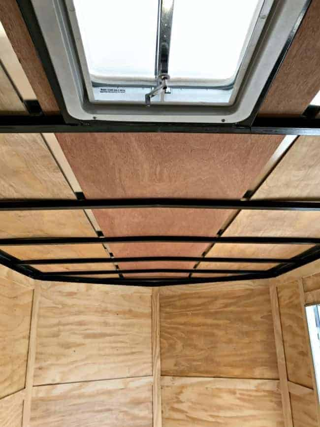 underlayment installed in RV ceiling before wood plank ceiling is installed