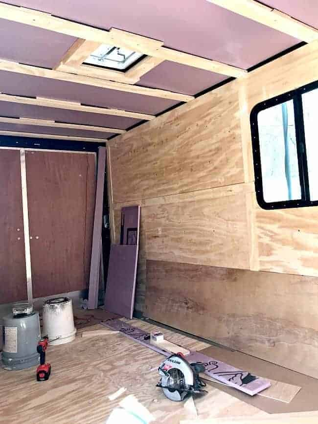 rigid insulation installed in ceiling in back of RV