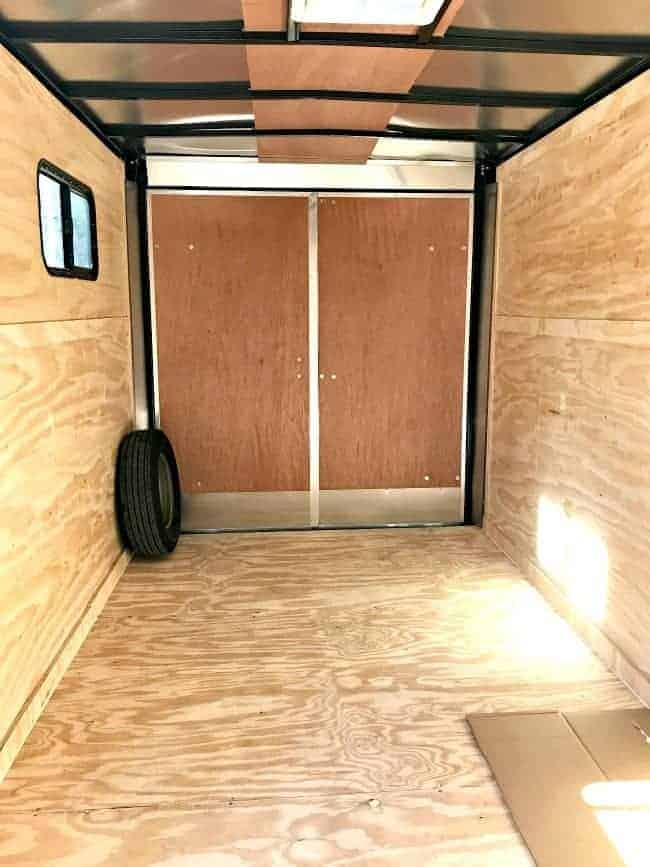 Metal Ceiling In Back Of RV Before Wood Plank Ceiling Installed