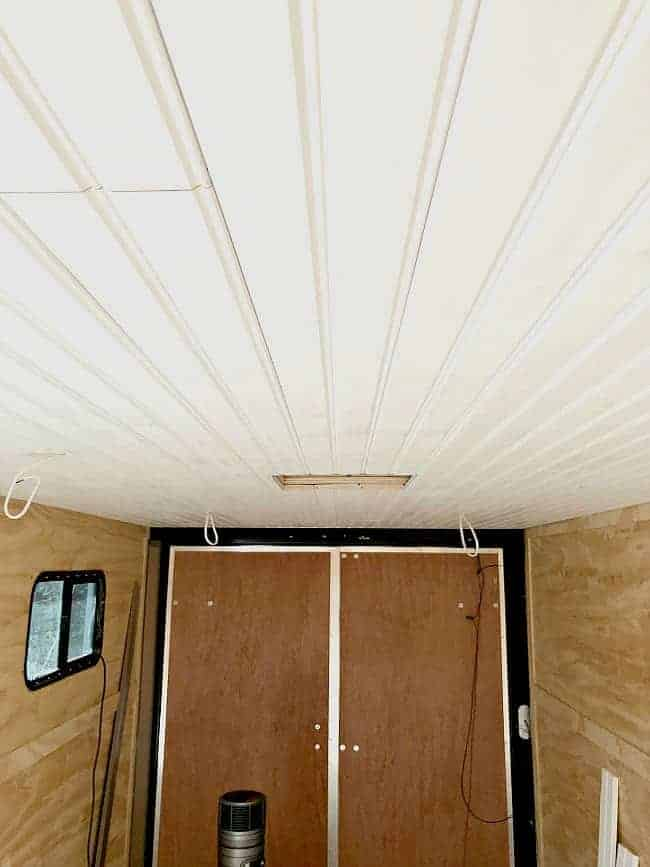 tongue and groove wood plank ceiling installed in RV