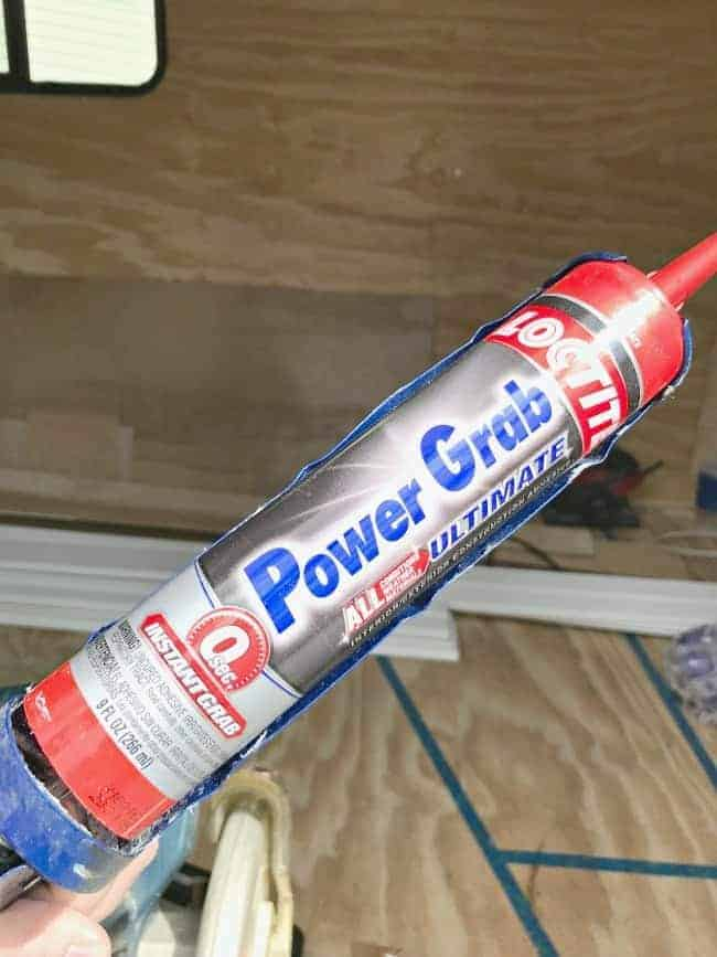 Power Grab construction adhesive to use on tongue and groove plank ceiling installation