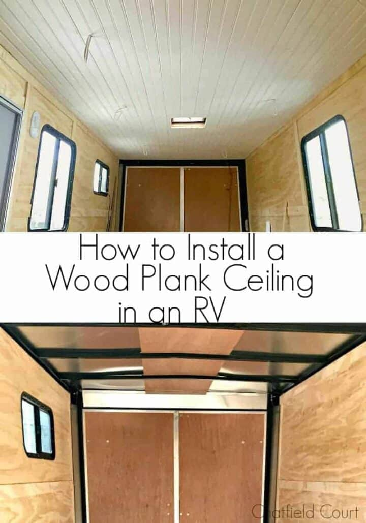 tongue and groove plank ceiling installation in RV before and after