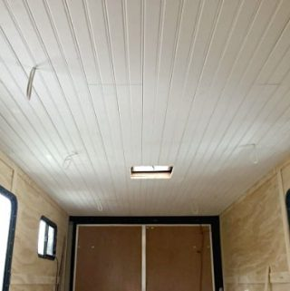 installed wood plank ceiling in RV