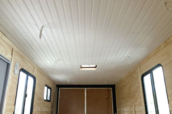 RV Remodel – How to Install a Wood Plank Ceiling