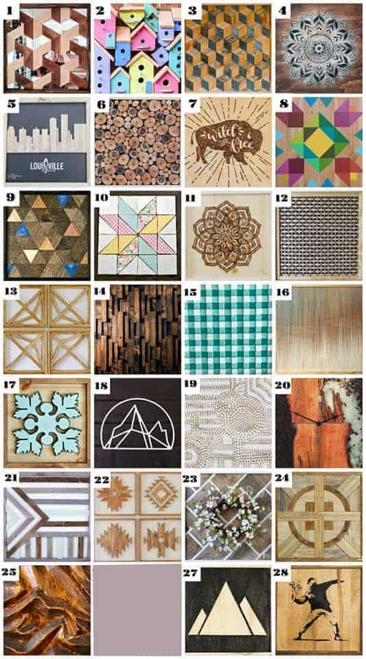 collage of wood wall projects