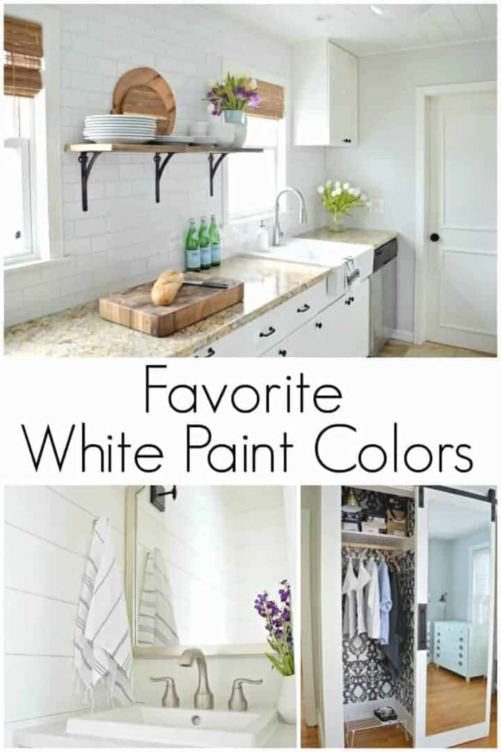 Favorite white paint colors in a white kitchen, small powder room with white planks on wall, closet with wallpaper and sliding barn door