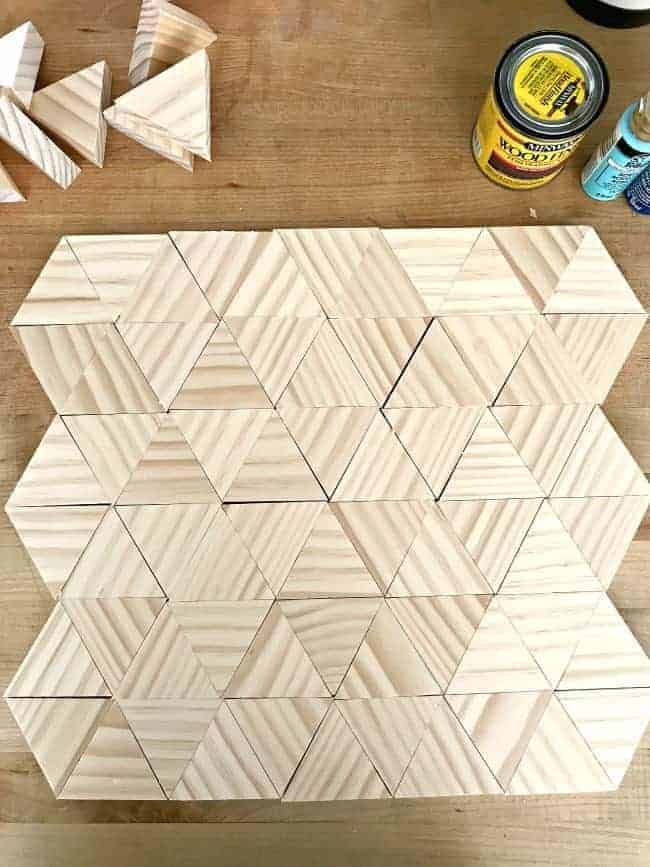 pine triangles put together in a square shape