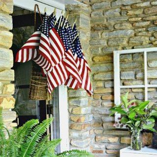 hanging front door flag basket