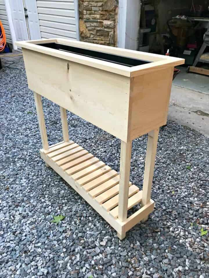 DIY wood planter complete and ready for stain