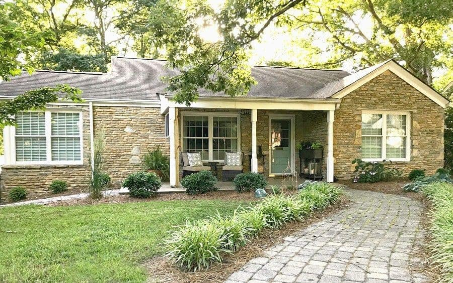 easy DIY curb appeal ideas for a stone cottage