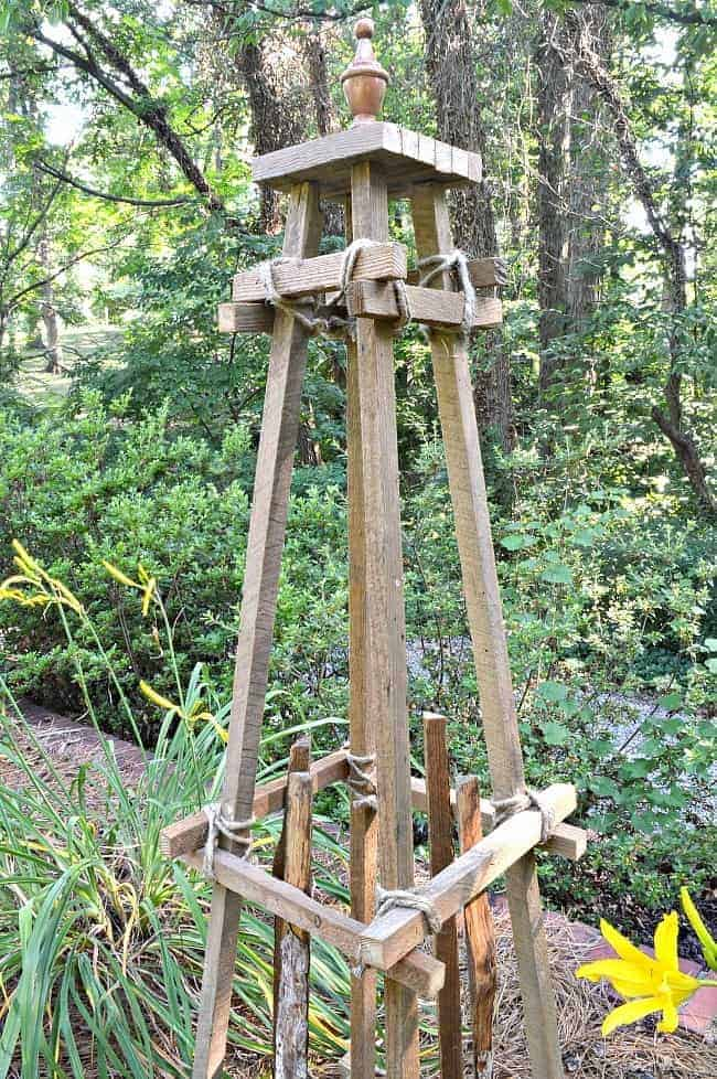 cottage musings 2018 with a scrap wood garden obelisk