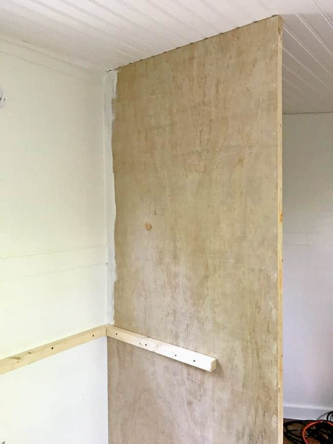 new wall to separate kitchen from bathroom for our RV renovation