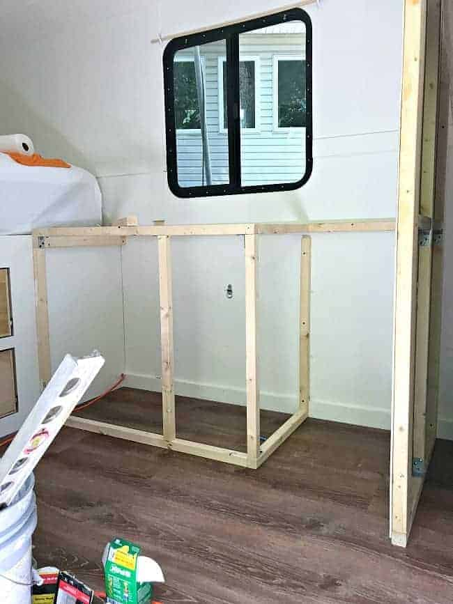 framing out kitchen cabinets for our RV renovation