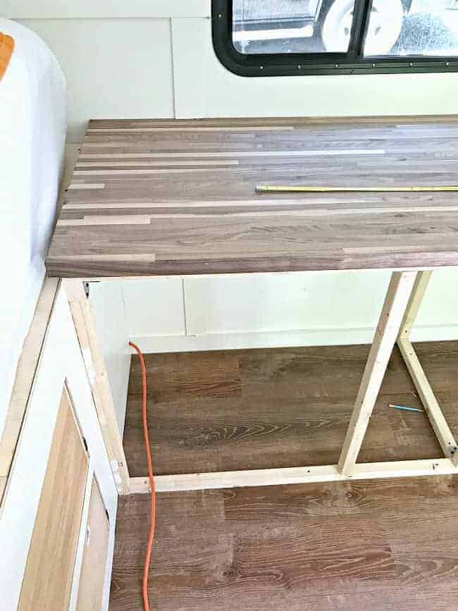 new walnut butcher block countertop installed for our RV renovation
