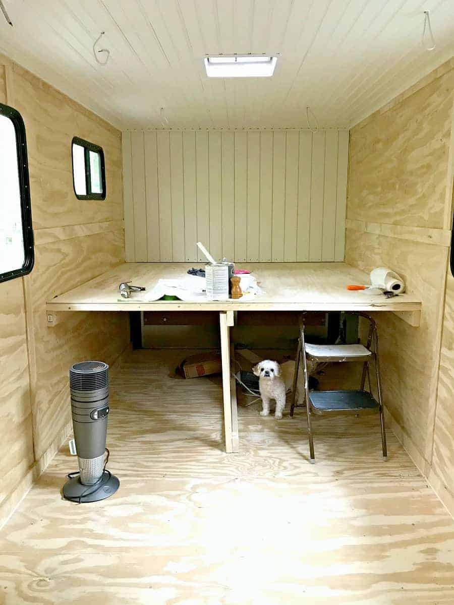plank ceiling and shiplap wall for our RV renovation