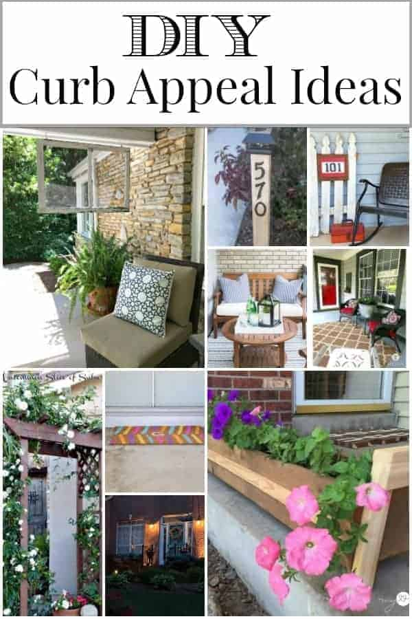 collage of 9 DIY curb appeal ideas