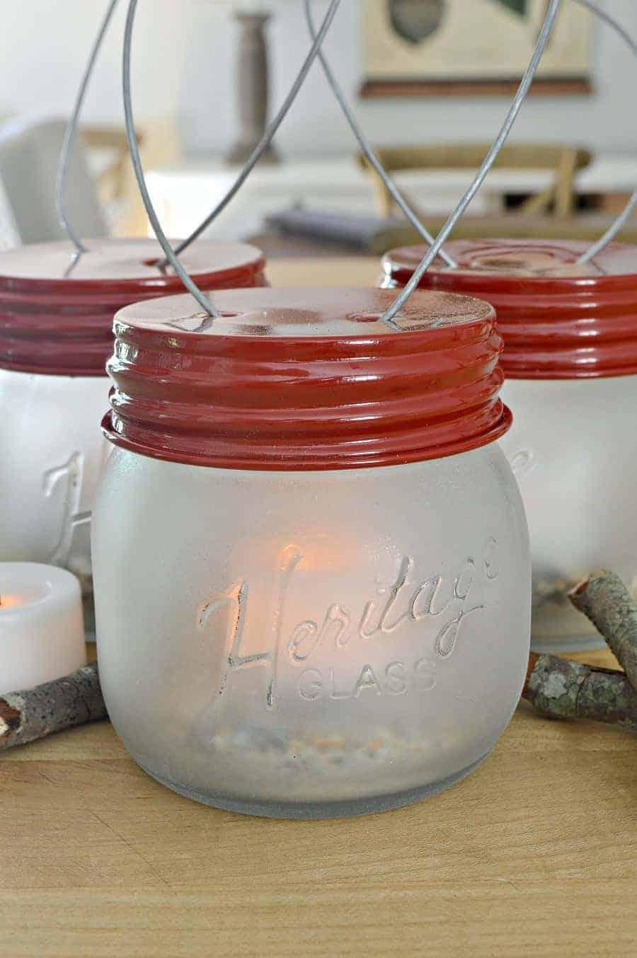 mini DIY mason jar lanterns
