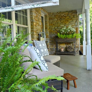 view of summer cottage front porch with chairs and plants