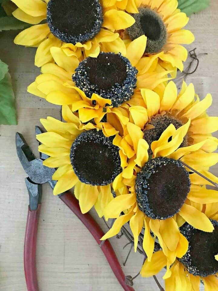 finishing wreath for a how to make a sunflower wreath tutorial