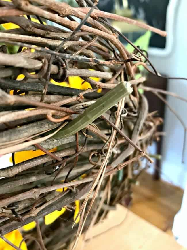 bent sunflower stems for how to make a sunflower wreath tutorial