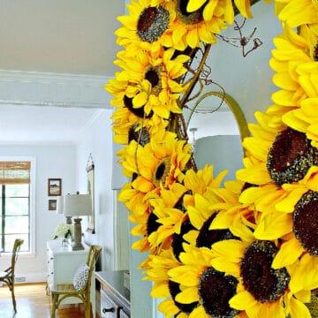 A sunflower wreath on a door