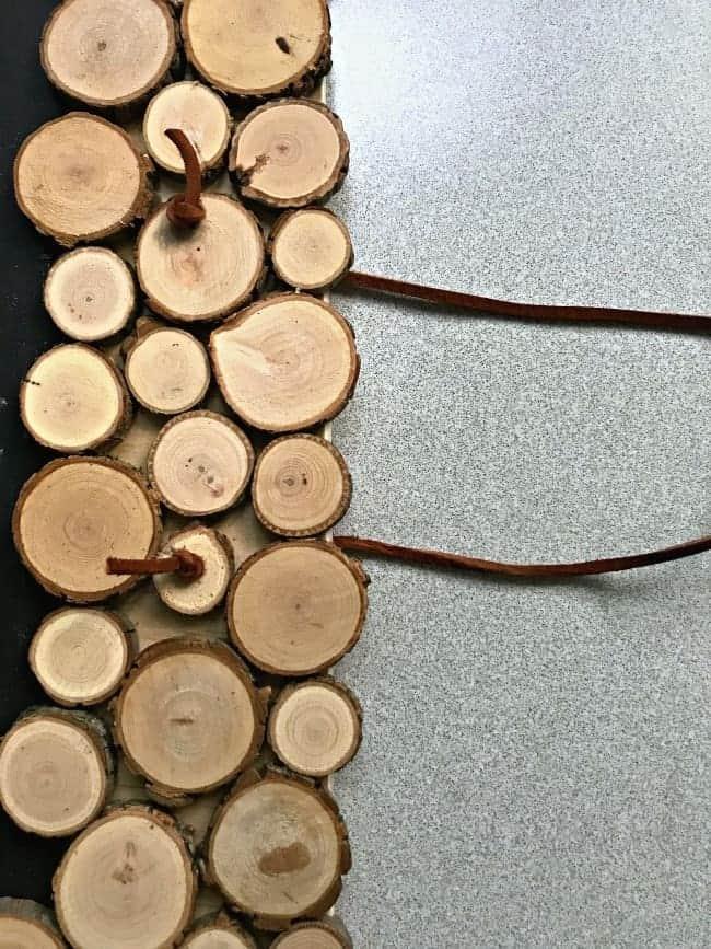 wood rounds on chalkboard