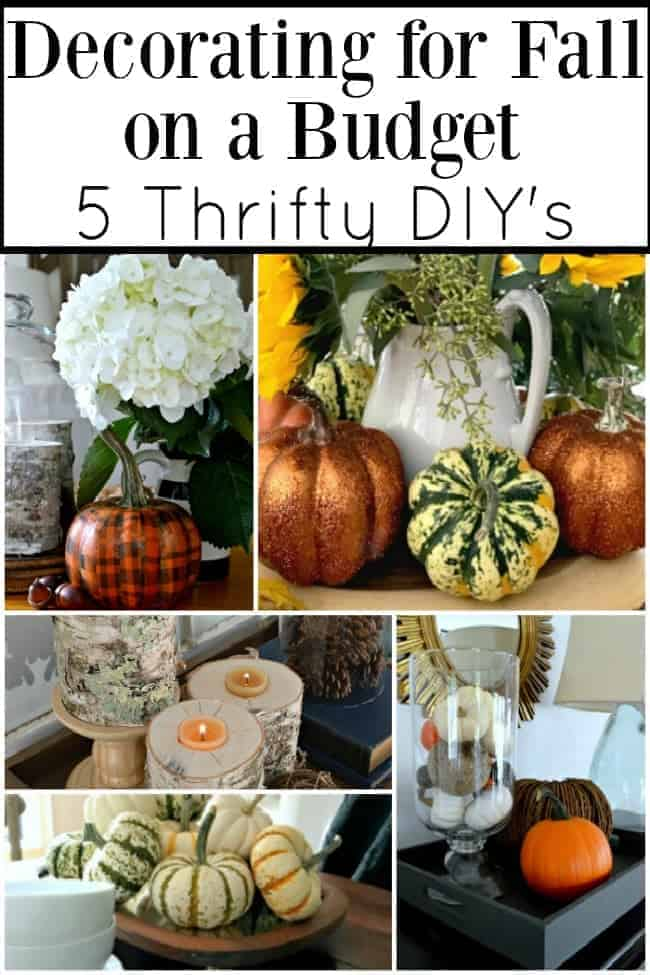 collage of 5 fall DIY ideas for decorating for fall on a budget and a large graphic