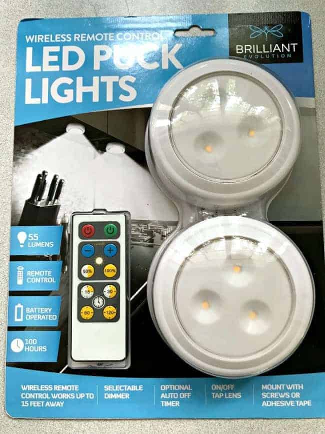 packaged led puck lights to make DIY wireless wall sconce
