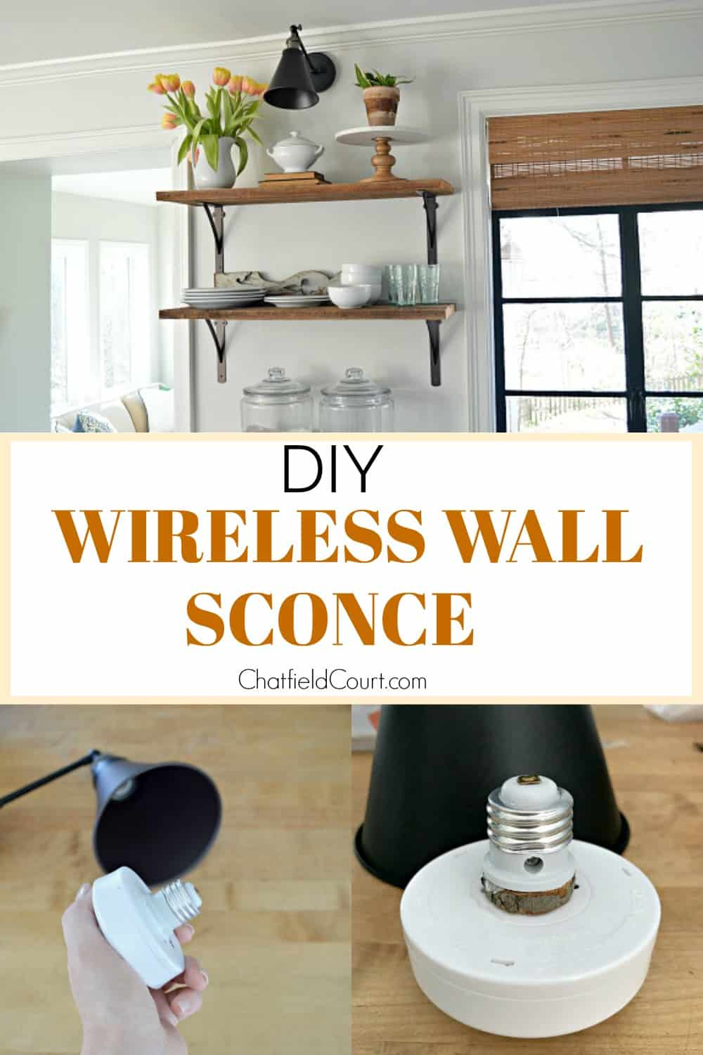 collage of DIY wireless wall sconce parts