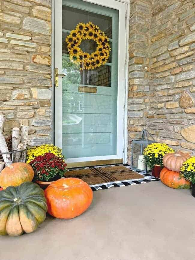 front porch fall decor with blue front door, black and white rug and lots of pumpkins and mums spread around