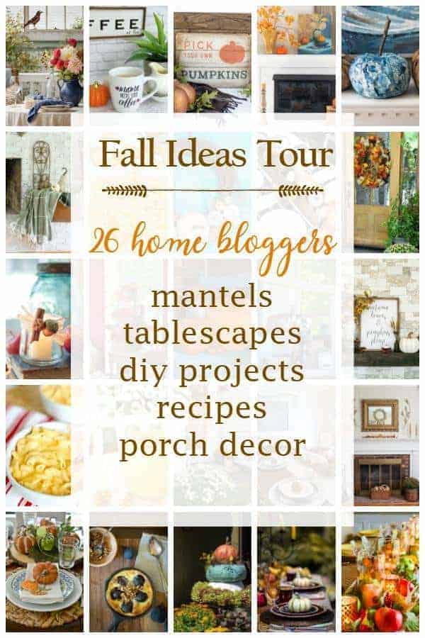 collage of fall decor ideas from a blogger Fall Ideas Tour plus a large graphic